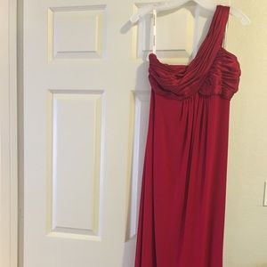 Formal Empire Gown One Shoulder Red Davids Bridal