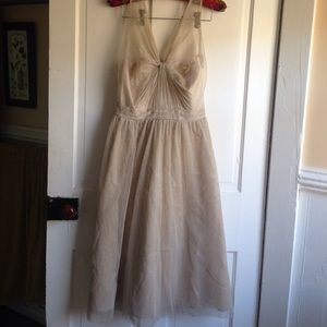 Adrianna Papell gold nude dress