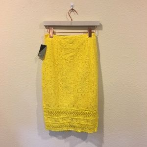 Project Runway Skirts - NWT Project Runway yellow lace trim pencil skirt