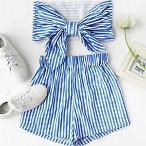 Romwe stripe bow tie strapless crop top short set