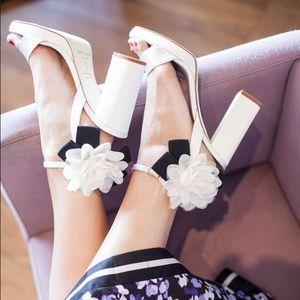 Kate Spade Hendrika Heeled Sandals in Ivory Satin