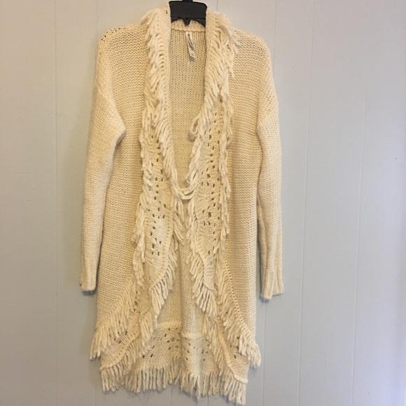 Bethany Mota Sweaters - Cream Crochet Duster Style Cardigan e210a3410