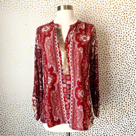Anthropologie Tops - Anthropologie Tiny Paisley Sequin Popover