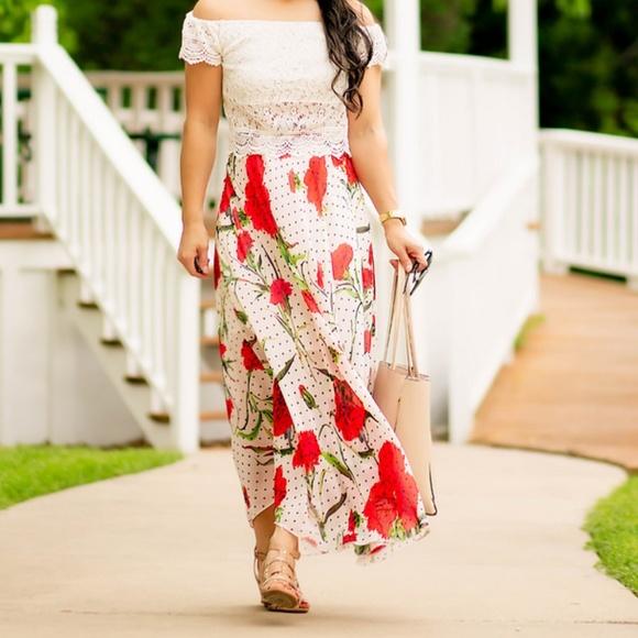 Dresses & Skirts - Shein red floral polka dot skirt