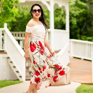 Skirts - Shein red floral polka dot skirt