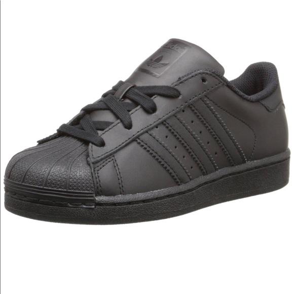 black shell toe adidas kids