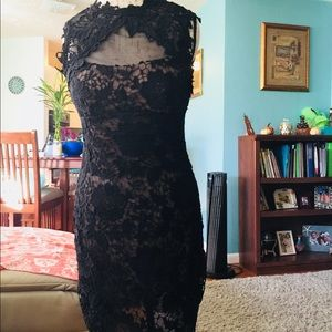 Betsy & Adam black lace formal dress