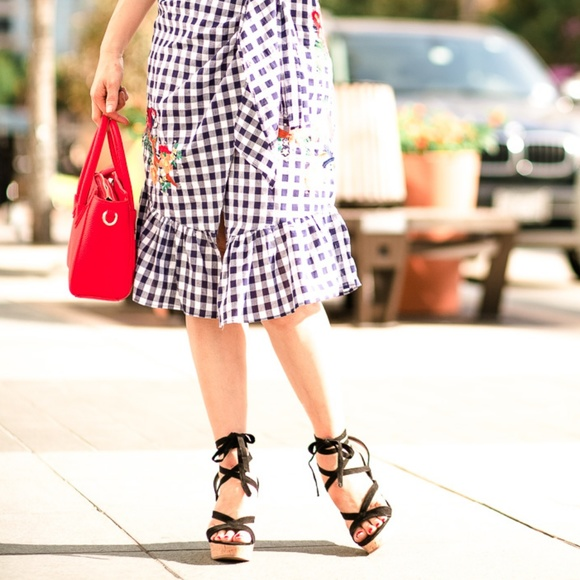 Guess Shoes - Guess 'Treacy' black wrap wedge sandal