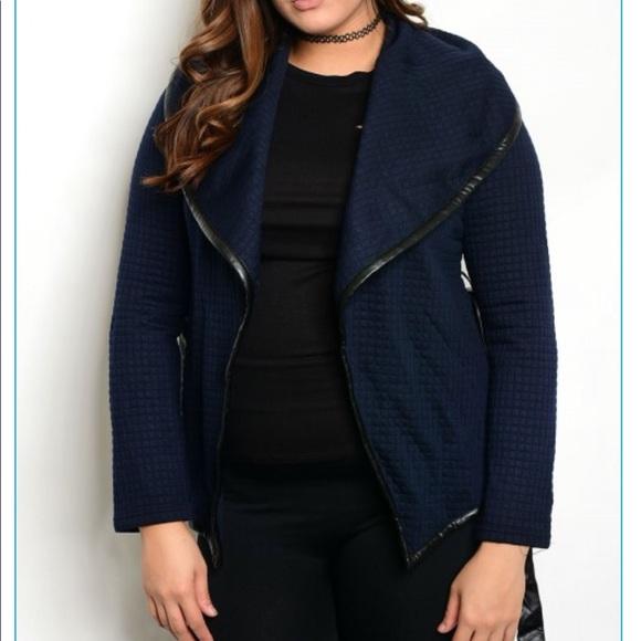 ba30a3009cdaf Plus Size Navy Blue Wrap around Jacket