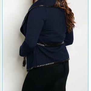 Jackets & Coats - 🆕 Plus Size Navy Blue Wrap around Jacket