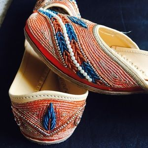 Shoes - Hand Embroidered Orange Jutti