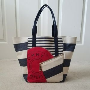 NEW Tommy Hilfiger Canvas summer beach tote