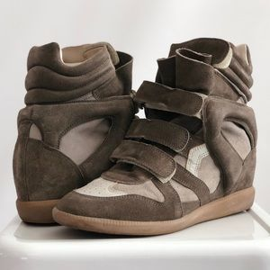 Isabel Marant Taupe Bekett Wedge Sneakers