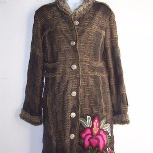 Custo Barcelona Long Brocade Coat  40  US6