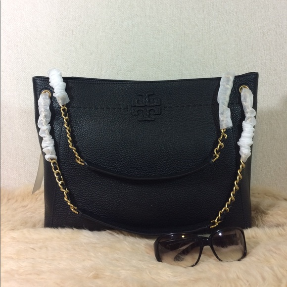 777755a1c95 Tory Burch Black McGraw Chain Slouchy Tote