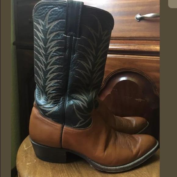 d6e08b92db4 JUSTIN Brown N Black Leather Cowboy Boots Mens