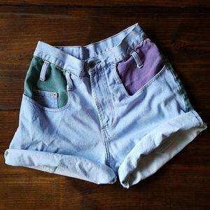 Vintage Colorblock High Waist Jean Shorts