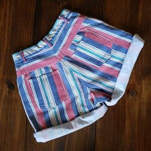 Vintage Multi-Color High Waist Striped Jean Shorts