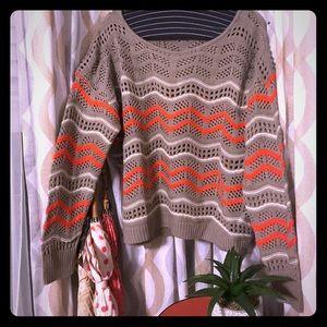Oversized Knit Sweater with Orange Stripes