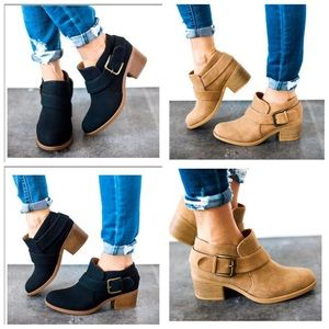 Buckle Wrapped Ankle Bootie Distress Pu
