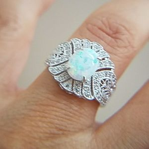Jewelry - 14k Gold plated Oval Opal Engagement Ring
