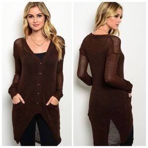 Sweaters - Lightweight long brown cardigan