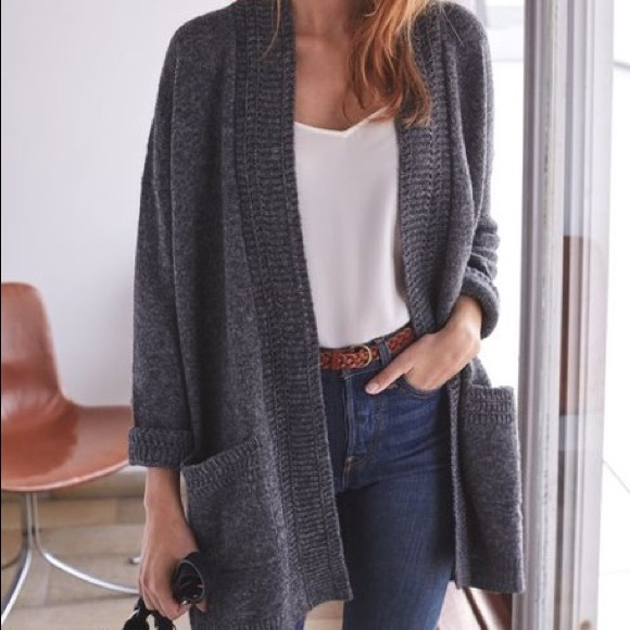 Sezane Sweaters - SÉZANE jay cardigan gilet marl grey medium
