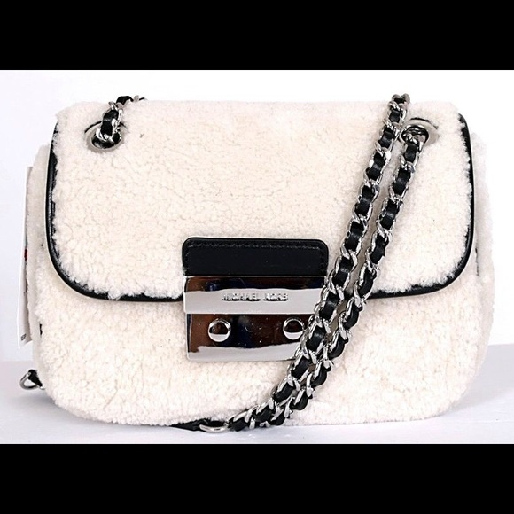 bd5304ad208f Michael Kors Sloan Sm Shearling Chain Shoulder Bag