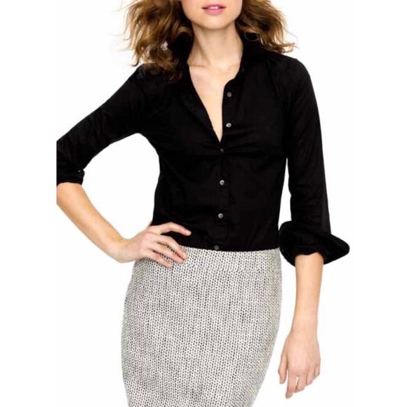 6871f14452 J. Crew Tops - HPJ. CREW Silk Black Sheer Button Up