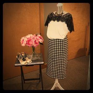 Eloquii Textured Houndtooth Pencil Skirt