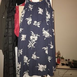 Blue floral dress with tie in back