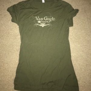 NEW Van Gough Vodka Army Green Fitted T - Small