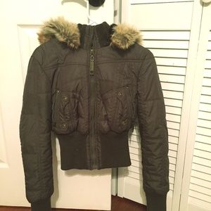 Juniors Brown Fur Jacket