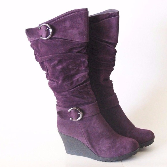 b19eac97171 Purple Mid Calf Wedge Heel Faux Suede Slouch Boots Boutique