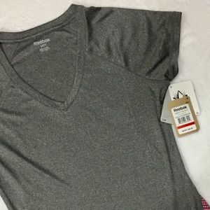 Reebok charcoal  gray/rose athletic top;  small