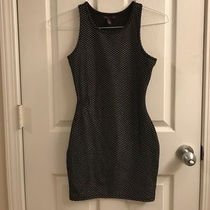 Black and Silver Material Girl Bodycon Dress
