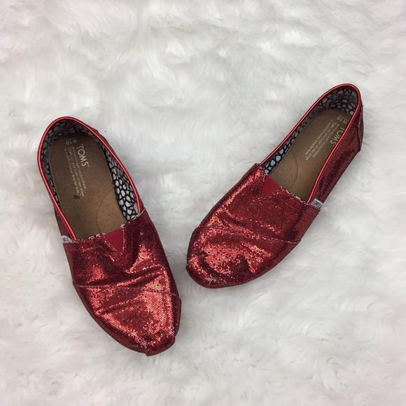 afdf512146d 🎃Toms Womens Size 10 Red Sparkle Flats. M 59f923775a49d0343d033359