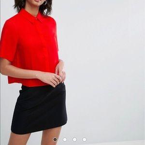 ASOS Red Short-sleeved Crop Blouse
