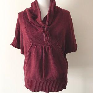 LA Made Cranberry Kangaroo Pocket Poncho/Sweater