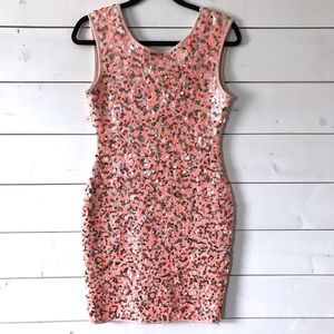 H&M Pink Coral Open Back Sleeveless Sequin Dress