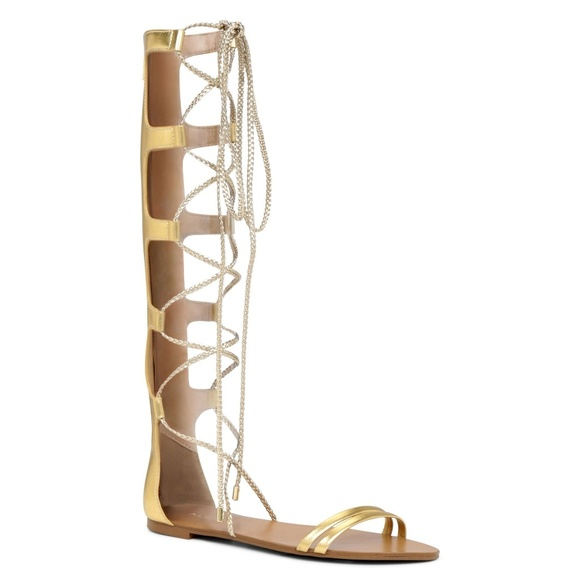 7edfd229d124 Aldo gladiator sandals knee high gold