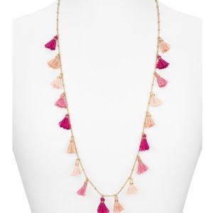 AQUA Pink tassel necklace NWT!