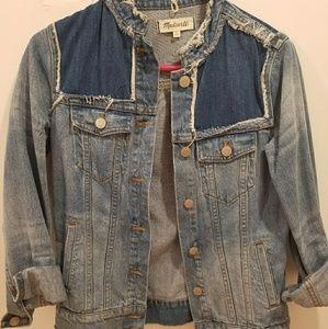 Madewell distressed, colorless denim jacket