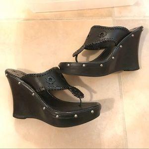 New jack Rogers wedge leather studded sandal 5.5