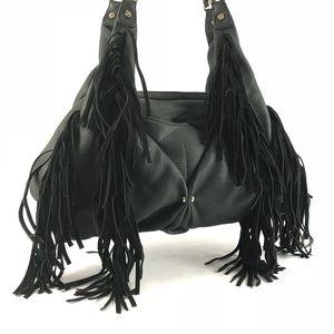 Black Aimee Kestenberg leather fringe satchel.