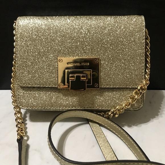 b3a688ba2bcf Brand NWT MK Pale Gold Glitter Tina Crossbody