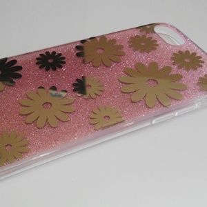 Accessories - I phone 7 Case Pink Gold Flower Silicone Soft