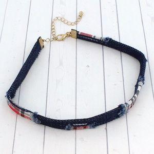 Jewelry - Chokers 2/$20 - Distressed Plaid Dark Denim Choker