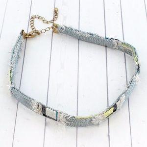 Jewelry - Chokers 2/$20 - Distressed Plaid Light Blue Choker