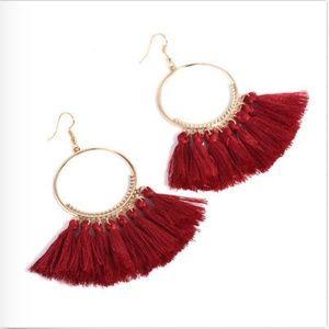 Jewelry - NEW Red boho tassels hoop earrings